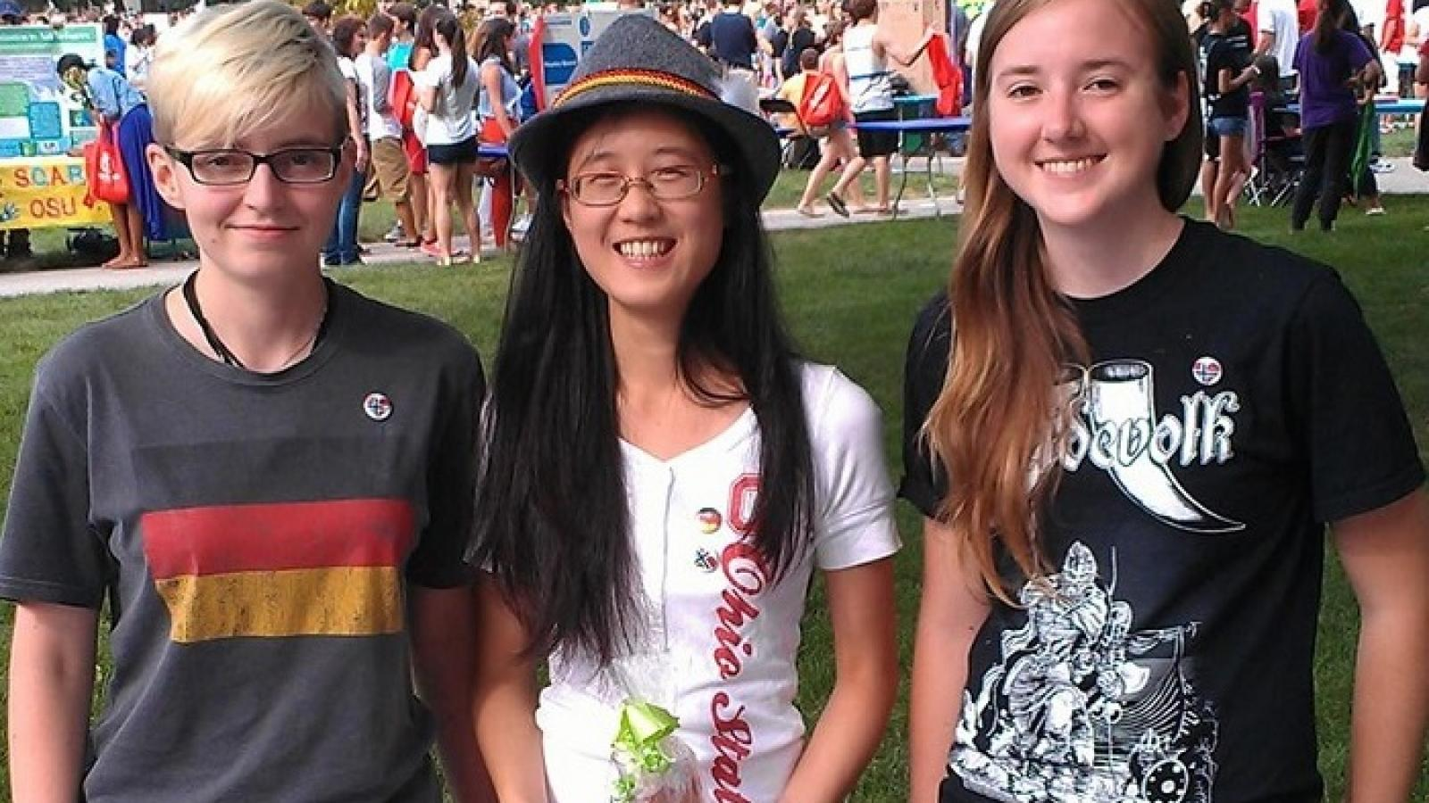 Three members of the OSU German Club on the Oval